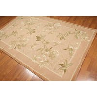 Multicolor Pure Wool Floral Hand-hooked Oriental Area Rug (5'2 x 8'3) - multi
