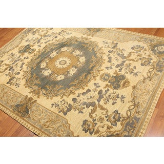 """Pure Cotton Hand Woven French Aubusson Area Rug Made in Italy (5'8""""x7'7"""")"""