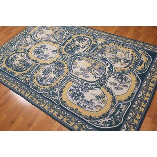 "Glam Ornamental French Tapestry Toile Look Area Rug (5'3""x8'3"")"