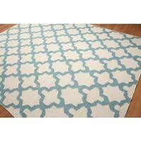 Ultra Modern Chic Dhurry Blue/Beige Wool Area Rug - 8' x 10'
