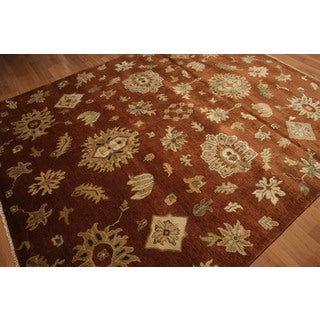 Ornamental Persian Oriental Area Rug - Burnt Orange/Beige - 8' x 10'