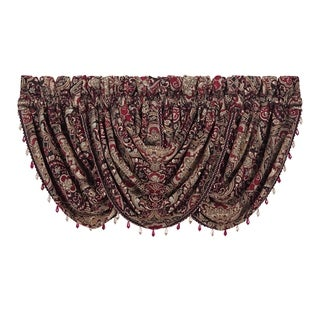 Five Queens Court Remington Waterfall Window Valance with Crystal Tassel Fringe