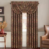 Five Queens Court Remington Woven Chenille Damask Luxury Window Panel Pair