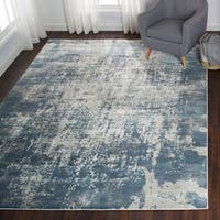 Distressed Abstract Blue Area Rug - 9'6 x 13'