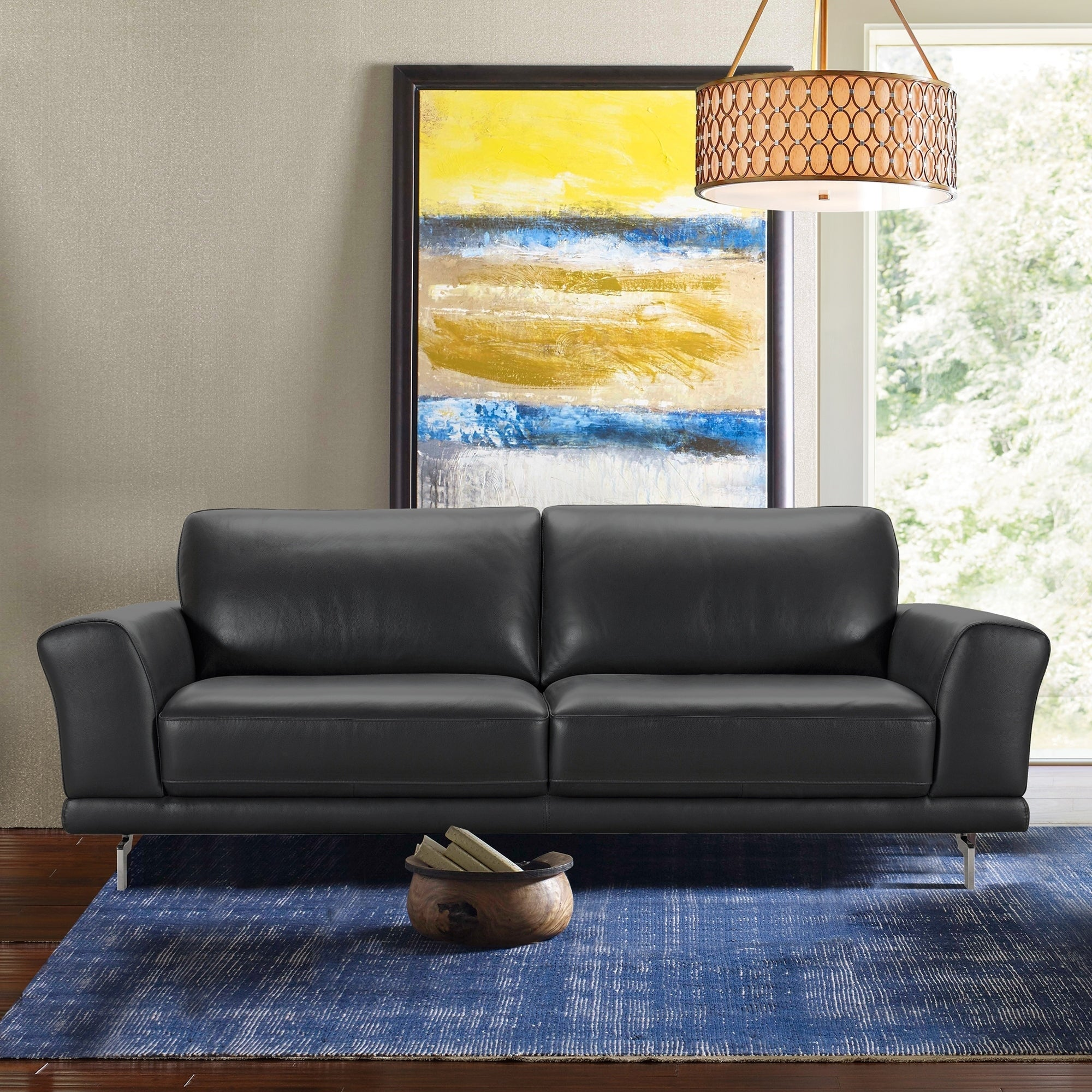Armen Living Everly Contemporary Sofa In Genuine Black Leather