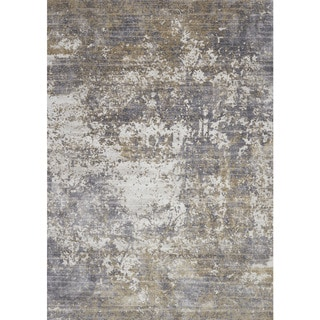 "Distressed Abstract Grey/ Taupe Textured Vintage Rug - 9'6"" x 13'"