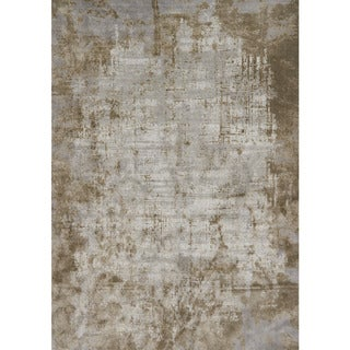 "Distressed Abstract Taupe/ Grey Textured Vintage Rug - 9'6"" x 13'"