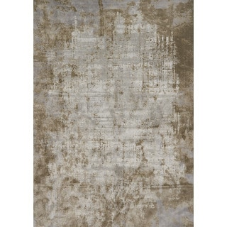 """Distressed Abstract Taupe/ Grey Textured Vintage Rug - 9'6"""" x 13'"""