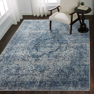 """Distressed Transitional Blue/ Grey Floral Vintage Rug - 9'6"""" x 13'"""