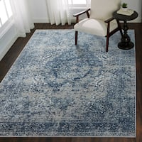 Distressed Transitional Blue/ Grey Floral Vintage Rug - 9'6 x 13'