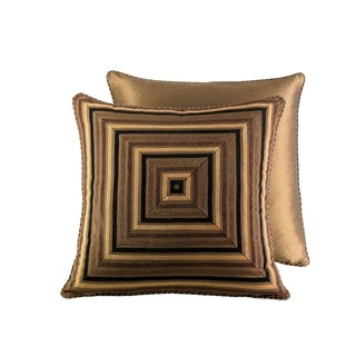 Five Queens Court Reilly Woven Chenille Stripe Euro Square Throw Pillow