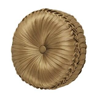 Five Queens Court Reilly Gold Faux Silk Round Decorative Throw Pillow