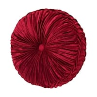 Five Queens Court Remington Red Velvet Tufted Round Decorative Throw Pillow
