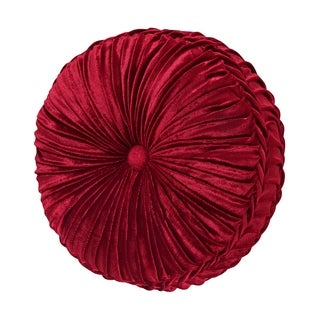 Five Queens Court Remington Red Velvet Tufted Round Decorative Throw Pillow