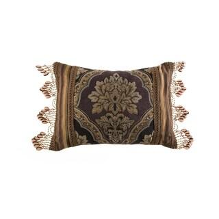 Five Queens Court Reilly Black Woven Chenille Damask Boudoir Throw Pillow