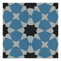 Wazane, Blue and Black handmade 8x8 cement tile  (Pack of 12)