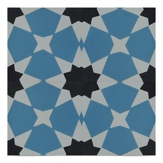 Wazane 8 x 8 inch handmade cement tile in Blue and Black (Pack of 12)