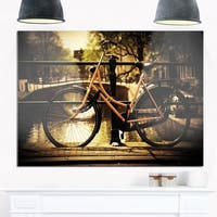 Retro Bike Over Romantic Canal Bridge - Photo Glossy Metal Wall Art