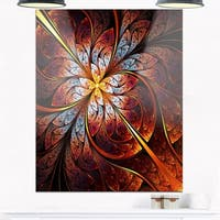 Fractal Flower Red and Blue - Floral Digital Art Glossy Metal Wall Art