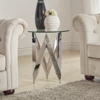 Marlin Angular Chrome and Glass End Table by iNSPIRE Q Bold