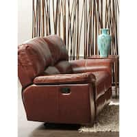 Cambridge Charleston Power Double Reclining Console Leather Loveseat