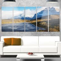 Designart 'Beautiful View of Torres del Paine' Large Beach Glossy Metal Wall Art