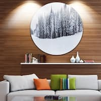 Designart 'Black and White Snow-Capped Hills' Landscape Large Disc Metal Wall art