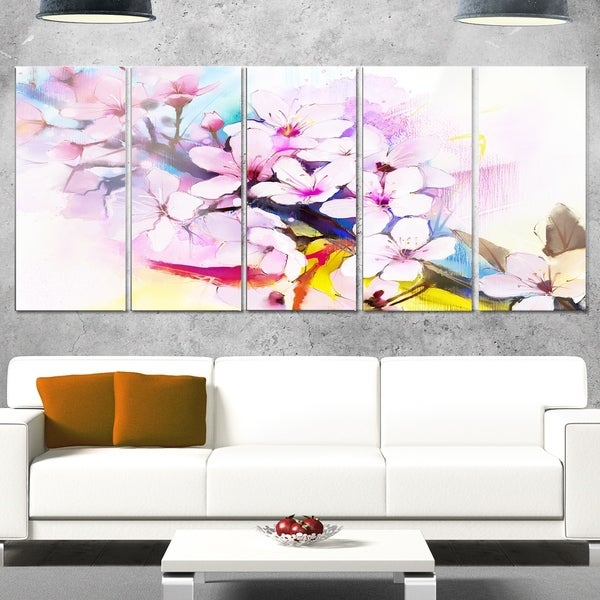 Shop Designart \'Japanese Cherry Blossoms Watercolor\' Flower Glossy ...