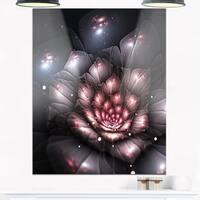 Fractal Flower with Pink Details - Floral Digital Art Glossy Metal Wall Art