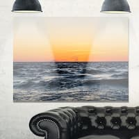 Red Dramatic Sunset Over Beach - Large Seashore Glossy Metal Wall Art