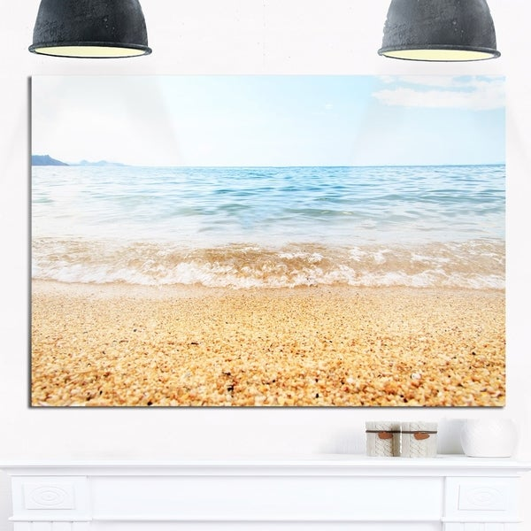 Blue Seashore with Pebble Stones - Modern Seascape Glossy Metal Wall ...