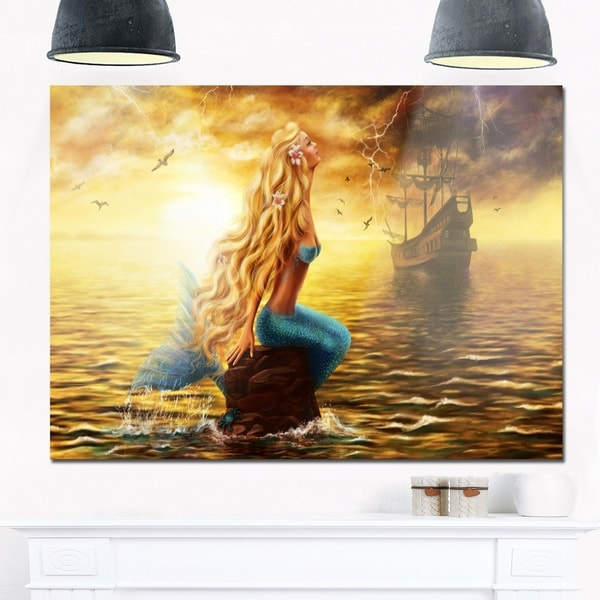 Sea Mermaid with Ghost Ship - Seascape Digital Art Glossy Metal Wall Art