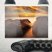Large Rocks at La Perouse Bridge - Large Seashore Glossy Metal Wall Art