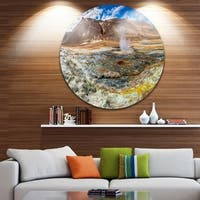 Designart 'Sulfur and Steam Namafjall Iceland' Landscape Disc Metal Wall Art