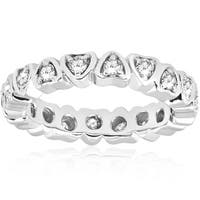 Bliss 14k White Gold 1/2 ct TDW Diamond Heart Shape Eternity Ring Womens Wedding Band - White I-J