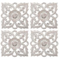 "Set of 4 Antique White 8"" Solaris Twenty-one Wall Art"