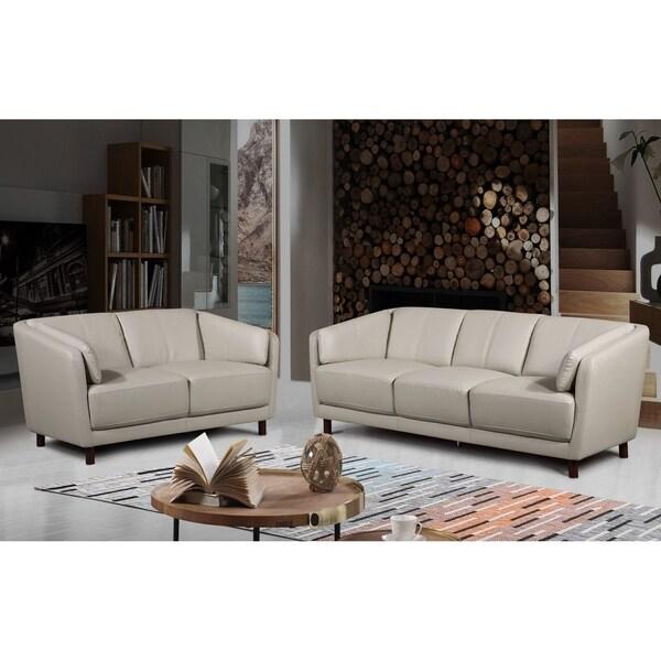 Vivian Mid Century Air Leather Fabric Sofa Set