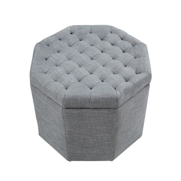 Terrific Shop Inspired Home Amara Upholstered Tufted Octagon Storage Machost Co Dining Chair Design Ideas Machostcouk
