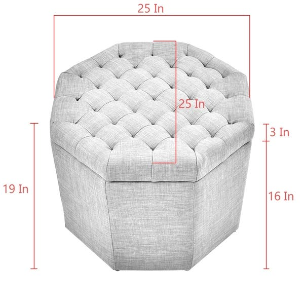 Magnificent Shop Inspired Home Amara Upholstered Tufted Octagon Storage Machost Co Dining Chair Design Ideas Machostcouk