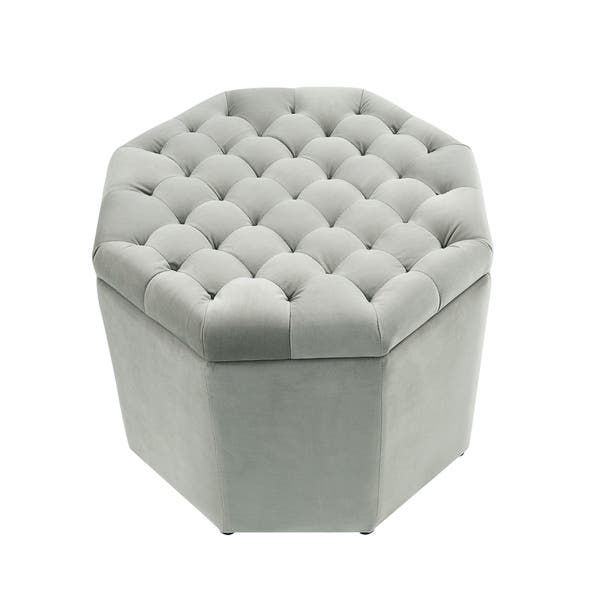Pleasing Shop Inspired Home Amara Upholstered Tufted Octagon Storage Machost Co Dining Chair Design Ideas Machostcouk
