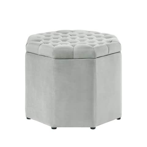 Inspired Home Amara Upholstered Tufted Octagon Storage Ottoman