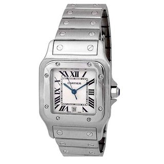 Pre-owned Large Cartier Santos Galbee Watch Silver Roman Numeral Dial