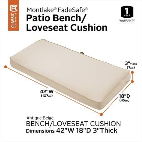 "Montlake FadeSafe Patio Bench/Settee Cushion - 18""L x 42""W x 3""H"