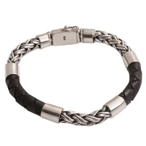 Handmade Men's Leather Sterling Silver One Strength Bracelet (Indonesia)