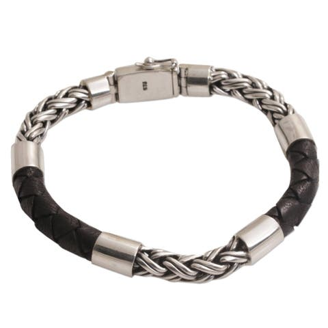 Handmade Men's Leather Sterling Silver One Strength Bracelet (Indonesia)