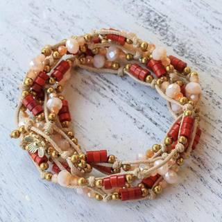 Handmade Brass 'Lively Party' Calcite Bracelet (Thailand)