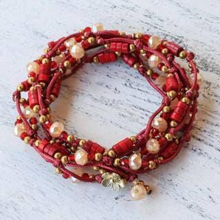 Handmade Brass 'Passionate Party' Calcite Bracelet (Thailand)