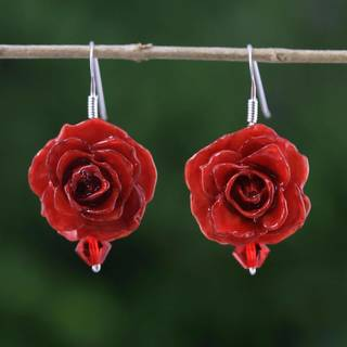 Handmade Natural Rose 'Floral Temptation in Red' Earrings (Thailand)