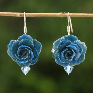 Handmade Natural Rose 'Floral Temptation in Azure' Earrings (Thailand)