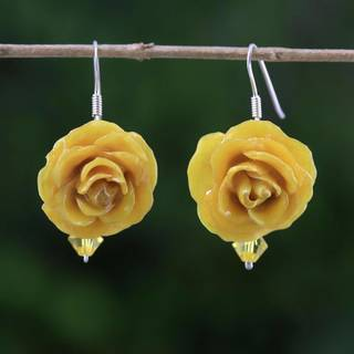 Handmade Natural Rose 'Floral Temptation in Yellow' Earrings (Thailand)